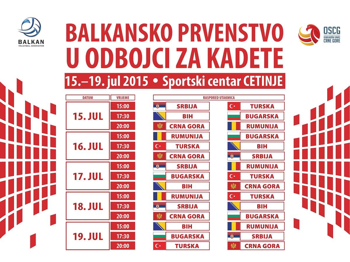 balkansko prvenstvo kadeti balkanijada cetinje odbojka oscg raspored utakmica